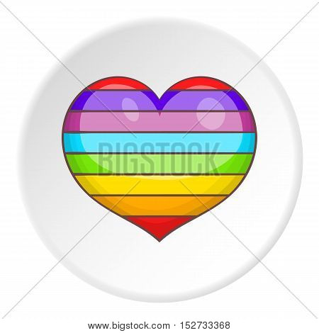 Heart in colours of LGBT icon. Cartoon illustration of heart in colours of LGBT vector icon for web