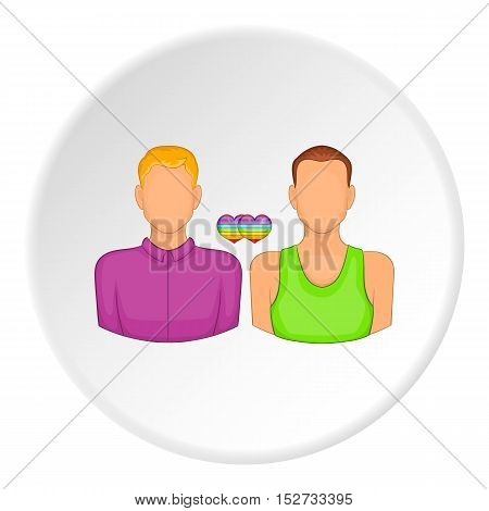 Two men gay icon. Cartoon illustration of two men gay vector icon for web