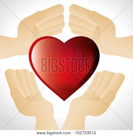 hands holding red heart vector illustration eps 10