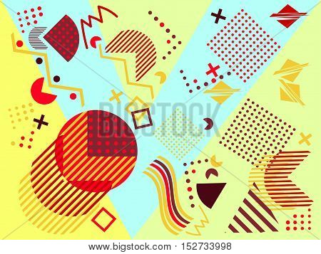 Geometric elements in the Memphis style colorful geometric chaos. Retro 80s style. Vector illustration.