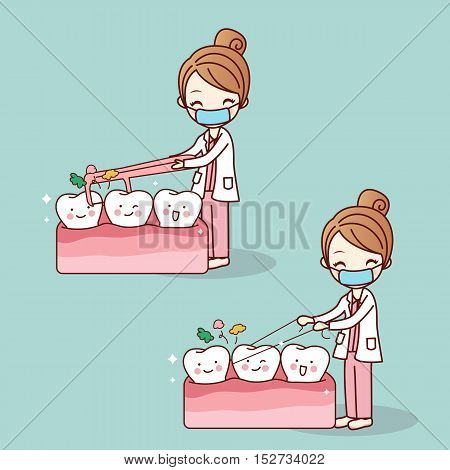 cartoon doctor or dentist use floss clean teeth great for dental care concept