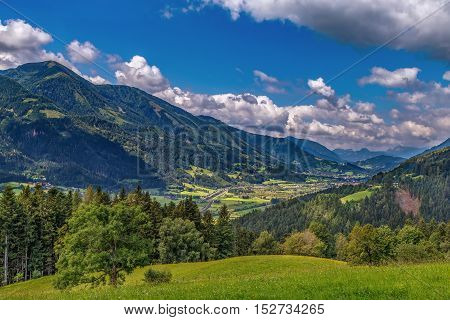 Landscape of valley in Alps mountains in central Styria Austria