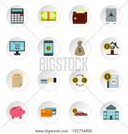 Banking icons set. Flat illustration of 16 banking vector icons for web