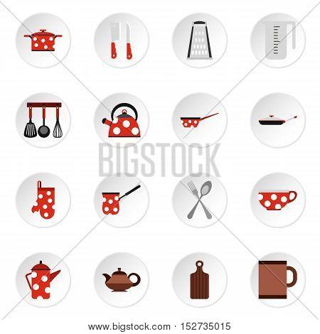 Kitchen utensil icons set. Flat illustration of 16 kitchen utensil vector icons for web