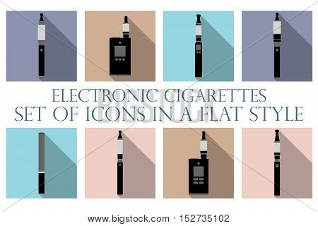 Electronic cigarette. Electronic cigarette flat icons. Types vaporizers. Set vector icons.