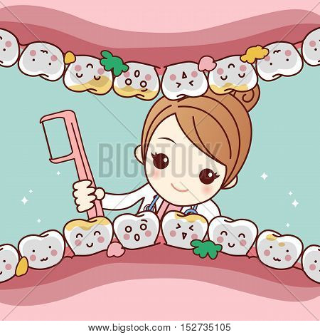 cute cartoon dentist doctor clean tooth by floss great for health dental care concept