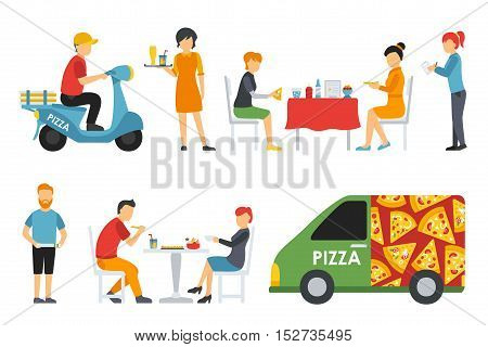 Pizza People in a interior flat icons set. Deliveryman, Customers, Bistro, Waiters, Delivery, Car, Scooter. Pizzeria conceptual web vector illustration.
