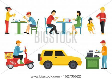 People in a Pizzeria interior flat icons set. Pizza concept web vector illustration. Cashier, Customers, Bistro, Waiters, Delivery, Car, Scooter.