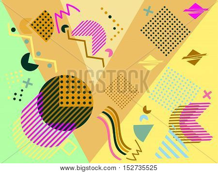 Geometric Elements In The Memphis Style, Colorful Geometric Chaos. Retro 80S Style. Vector Illustrat