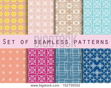 Set Of Seamless Patterns. Baroque Seamless Pattern. Classic Designs. Vector Iilustration.
