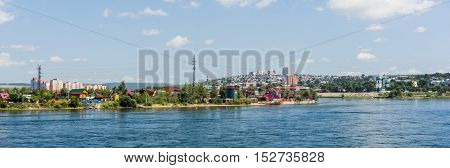 Panorama of Irkutsk and the Angara river on a hot July afternoon.