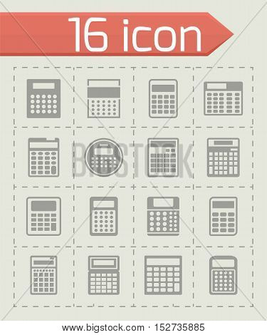 Vector Calculator icon set on grey background