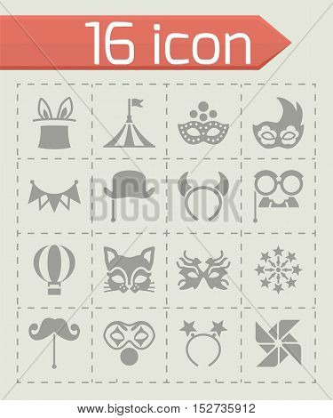 Vector Carnival icon set on grey background