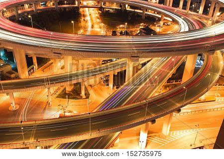 Bird View At Asia's Largest Across The Rivers In A Spiral Bridge At Night