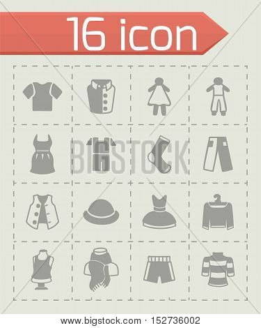 Vector Clothes icon set on grey background
