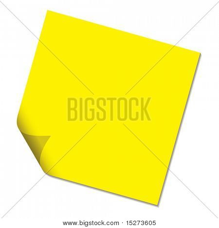 Sticky paper message not with page curl in yellow