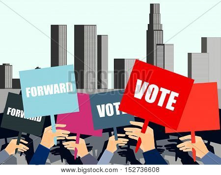 People With Placards On City Background. Election Campaign, Election Vote, Election Poster, Holding