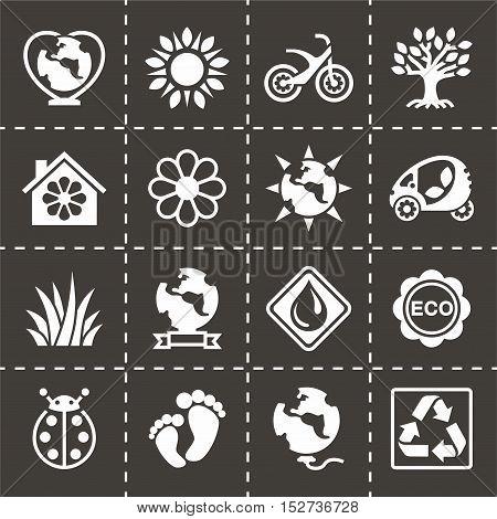 Vector Eco icon set on black background