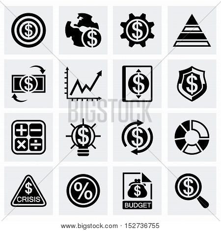 Vector Economic icon set on grey background