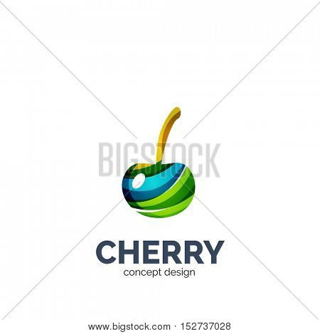 creative abstract cherry fruit logo created with waves