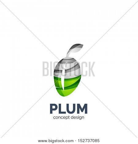 creative abstract plum fruit logo created with waves
