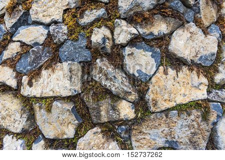 Masonry of stones of different shapes covered with moss.