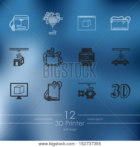 three d printer modern icons for mobile interface on blurred background
