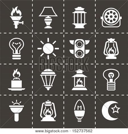 Vector Light icon set on black background