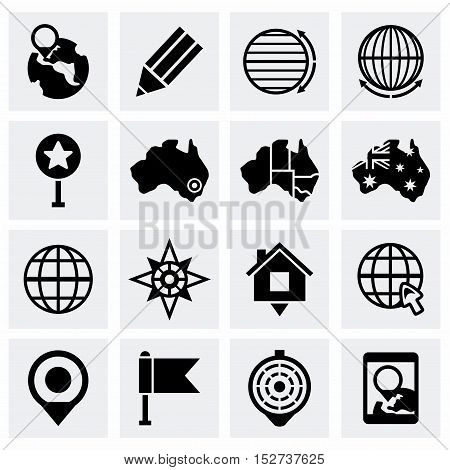 Vector Map icon set on grey background