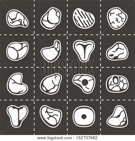 Vector Meat icon set on black background