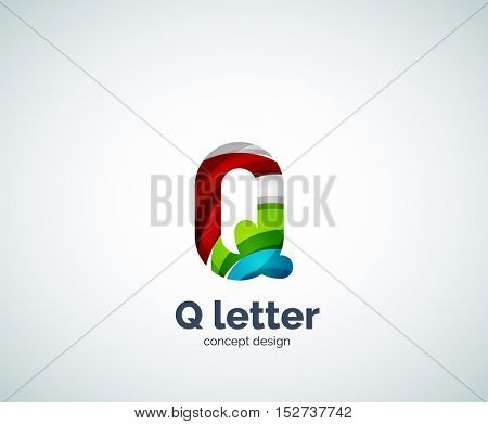 Q letter business logo, modern abstract geometric elegant design. Created with waves