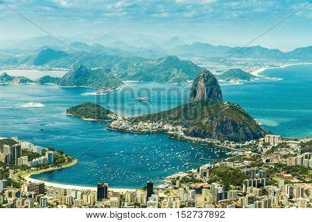 Panoramic view of Rio De Janeiro and Sugar Loaf, Brazil