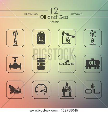 oil and gas modern icons for mobile interface on blurred background