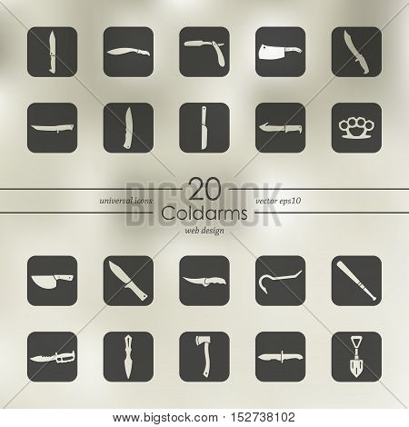 cold arms modern icons for mobile interface on blurred background