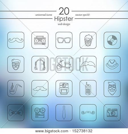 hipster modern icons for mobile interface on blurred background
