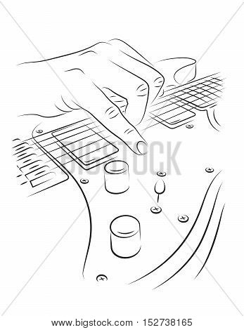 Playing electric guitar line art illustration. Strumming strings
