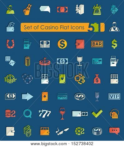 Set of casino flat icons for Web and Mobile Applications