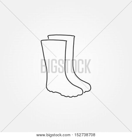 Rubber boots icon. Waterproof shoes. Flat Vector illustration