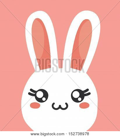 Rabbit Kawaii Cartoon Animal Cute Icon Card Illustration Vector