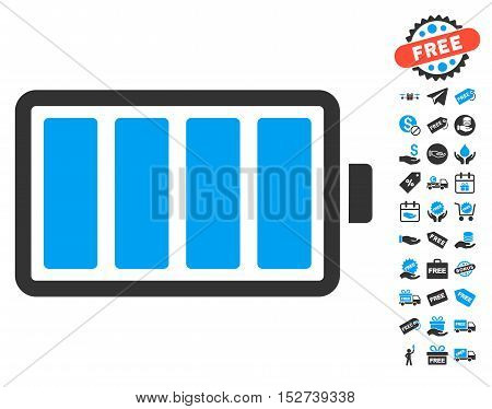 Battery pictograph with free bonus pictograph collection. Vector illustration style is flat iconic symbols, blue and gray colors, white background.