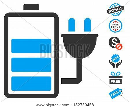 Charge Battery pictograph with free bonus pictures. Vector illustration style is flat iconic symbols, blue and gray colors, white background.
