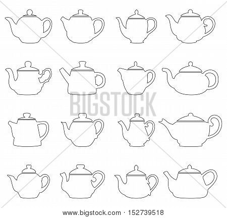 Set of outlines of teapots, vector illustration