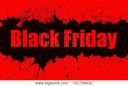 Vector grunge background with an black and red inky dribble for Black Friday Sale. Element for your designs, projects, promotional sales. Elements on separate layers for comfortable use.