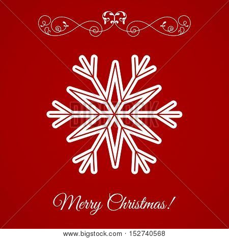Vector White Snowflake Icon Over Red Background. Element for Xmas and Happy New Year projects.