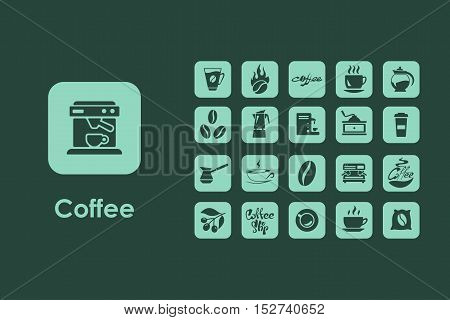 It is a set of coffee simple web icons