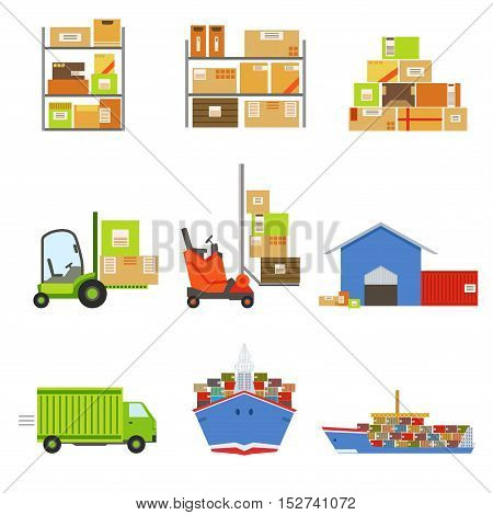 Logistics And Delivery Related Set Of Objects. Bright Color Simple Flat Illustrations Isolated On White Background.