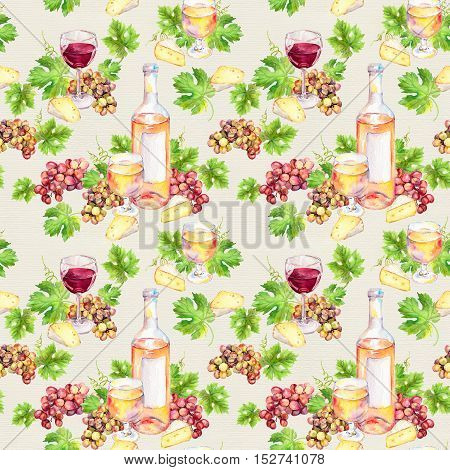 Wine glass and bottle with cheese, vine leaves, grape berries. Seamless background. Watercolor