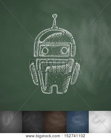 robot icon. Hand drawn vector illustration. Chalkboard Design