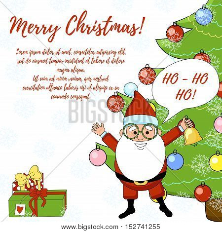 Santa Claus Christmas card with tree and gifts.