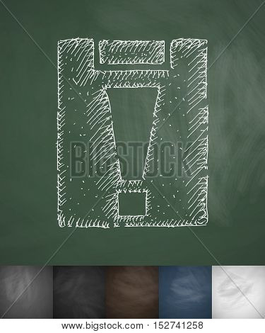assignment late icon. Hand drawn vector illustration. Chalkboard Design